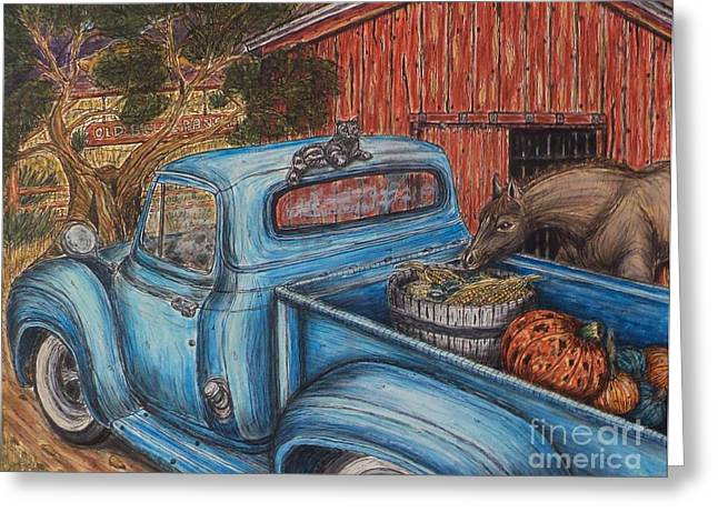 Recently Sold -  - Old Barn Pen And Ink Greeting Cards - Ahh...The Good Life Greeting Card by Kim Jones