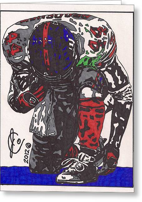 Player Drawings Greeting Cards - Ahmad Bradshaw 2 Greeting Card by Jeremiah Colley