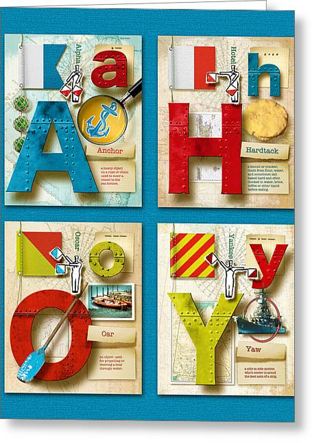 Ahoy Greeting Cards - Ahoy Blue Greeting Card by Vanessa Bates
