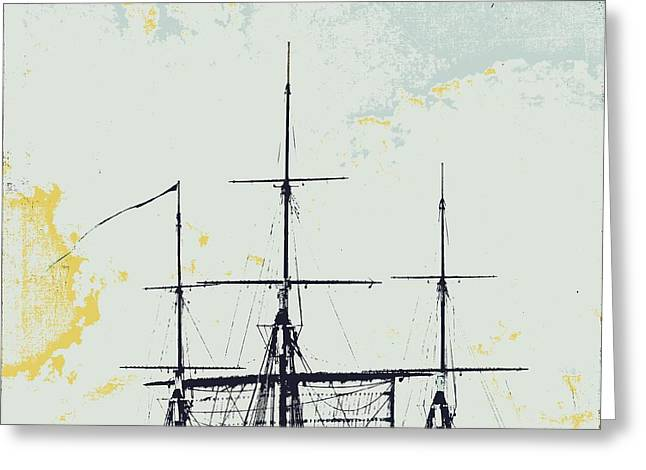 Tall Ships Mixed Media Greeting Cards - Ahoy Masts Greeting Card by Brandi Fitzgerald