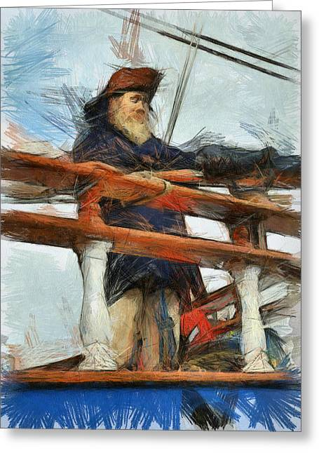 Old Man And The Sea Greeting Cards - Ahoy Mate Greeting Card by Paul Safran