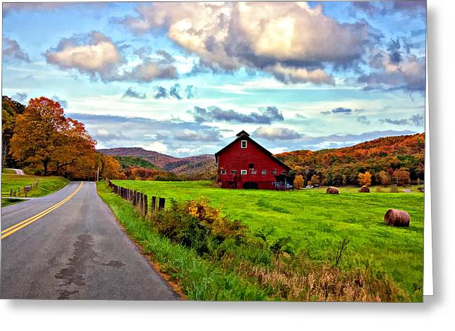 Hay Bales Greeting Cards - Ah...West Virginia painted Greeting Card by Steve Harrington