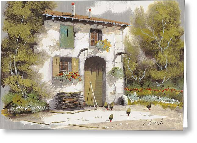 Courtyard Greeting Cards - Aia Greeting Card by Guido Borelli