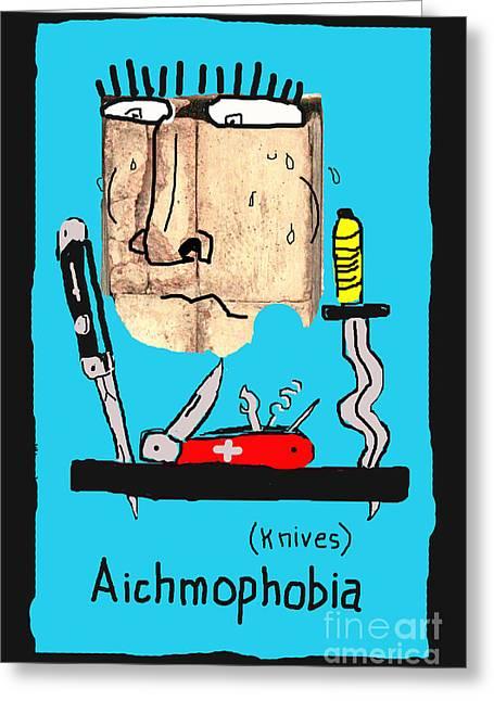 Swiss Psychiatrist Greeting Cards - Aichmophobia Greeting Card by Joe Jake Pratt