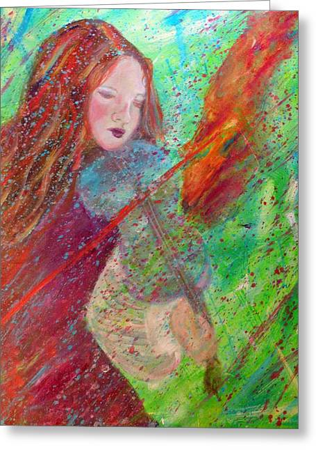 Charlotte Phillips Greeting Cards - Aiden The Girl On Fire Greeting Card by The Art With A Heart By Charlotte Phillips