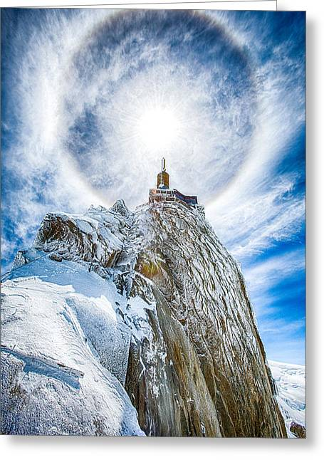 Midi Greeting Cards - Aiguille Sun Halo Greeting Card by Laurent Fox