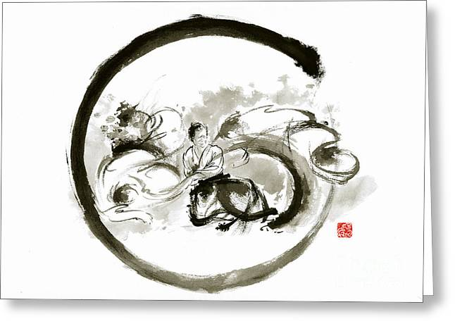 Aikido Enso Circle Martial Arts Sumi-e Original Ink Painting Artwork Greeting Card by Mariusz Szmerdt