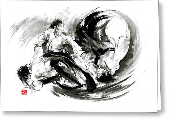 Recently Sold -  - Yang Greeting Cards - Aikido randori fight popular techniques martial arts sumi-e samurai ink painting artwork Greeting Card by Mariusz Szmerdt