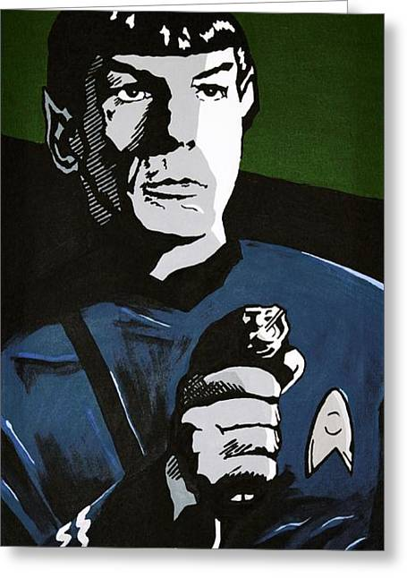 Enterprise Paintings Greeting Cards - Aiming his Phaser Greeting Card by Judith Groeger