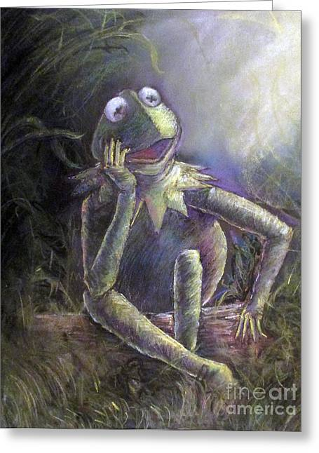 Amphibians Pastels Greeting Cards - Aint easy being green Greeting Card by Dan Lader II