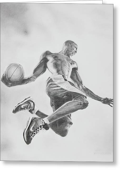 Player Drawings Greeting Cards - Air Ball Greeting Card by Jennifer Whittemore
