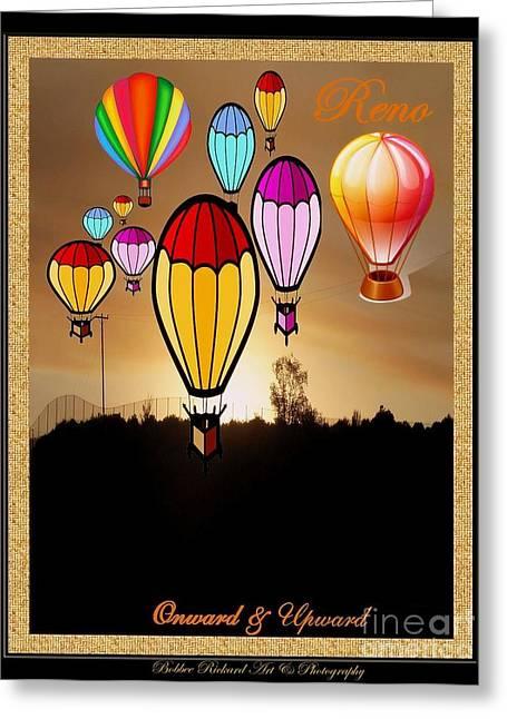 Graphics Framed Prints Greeting Cards - Air Balloons Reno Greeting Card by Bobbee Rickard