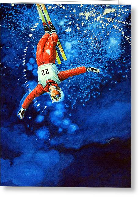 Freestyle Skiing Greeting Cards - Air Force Greeting Card by Hanne Lore Koehler