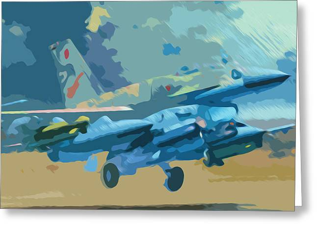 Airforce Paintings Greeting Cards - Air Force jetfighter taking off Greeting Card by Lanjee Chee