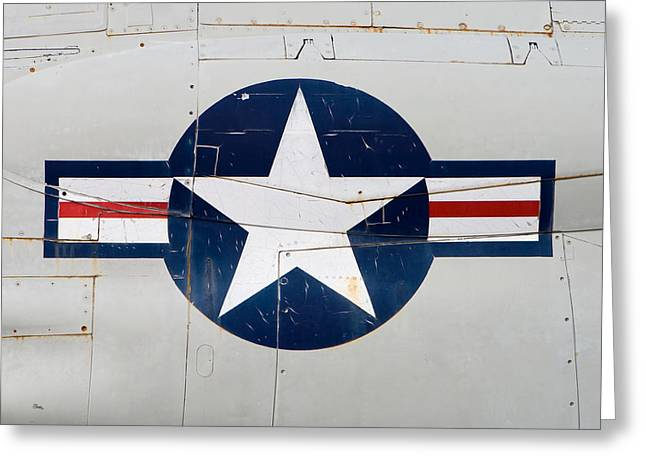 Red White And Blue Prints Greeting Cards - Air Force Logo on Vintage War Plane Greeting Card by Stephanie McDowell