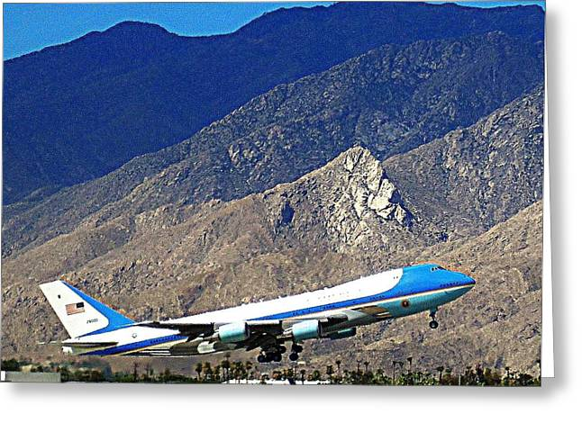 Palm Springs Airport Greeting Cards - Air Force One 1 Greeting Card by Ron Kandt