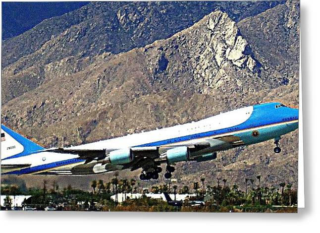 Palm Springs Airport Greeting Cards - Air Force One 2 Greeting Card by Ron Kandt