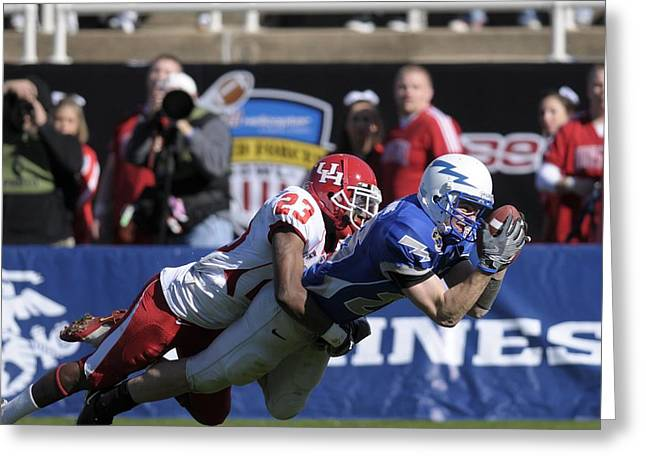 Footballs Closeup Greeting Cards - Air Force versus Houston Greeting Card by Mountain Dreams
