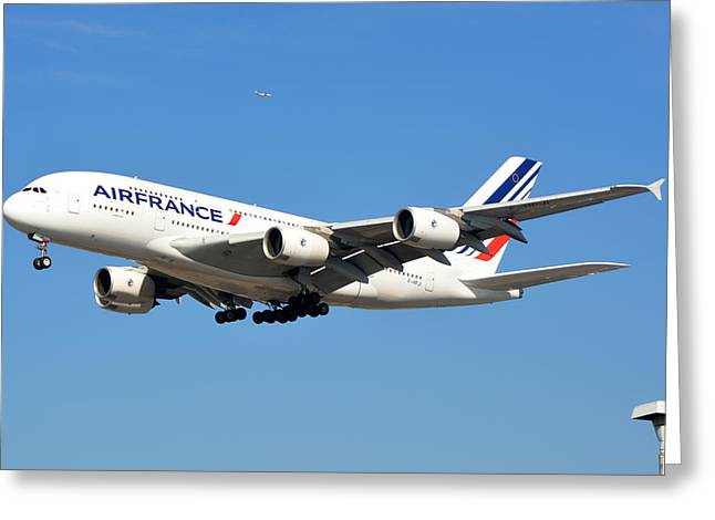 A380 Greeting Cards - Air France Airbus A380-861 F-HPJI Los Angeles International Airport January 19 2015 Greeting Card by Brian Lockett