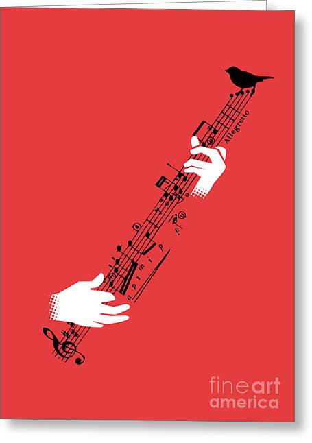 Music Notes Greeting Cards - Air guitar Greeting Card by Budi Kwan