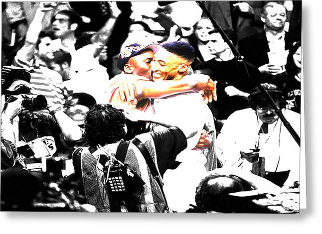 Pippen Digital Art Greeting Cards - Air Jordan and Scottie Pippen Greeting Card by Brian Reaves