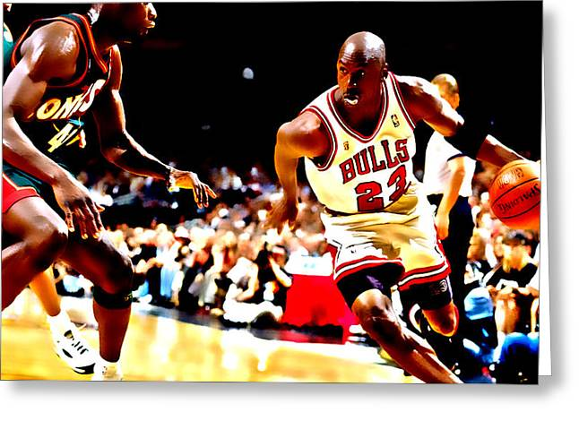 Patrick Ewing Greeting Cards - Air Jordan and Shawn Kemp Greeting Card by Brian Reaves