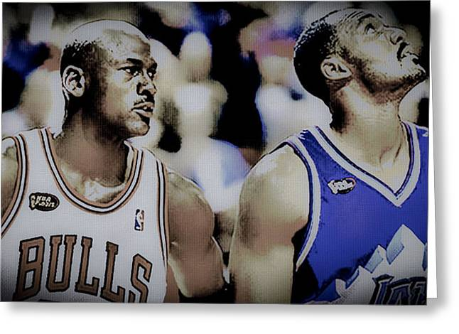 Air Jordan And The Mailman Greeting Card by Brian Reaves