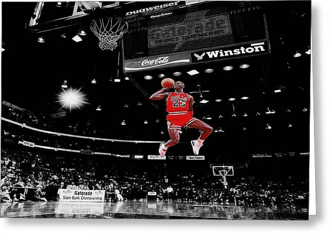 Michael Jordan Greeting Cards - Air Jordan Greeting Card by Brian Reaves