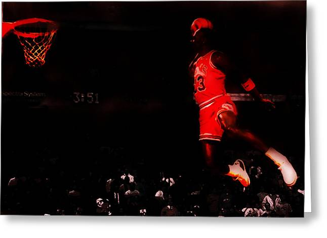 Slam Dunk Paintings Greeting Cards - Air Jordan Crusing Altitude Greeting Card by Brian Reaves