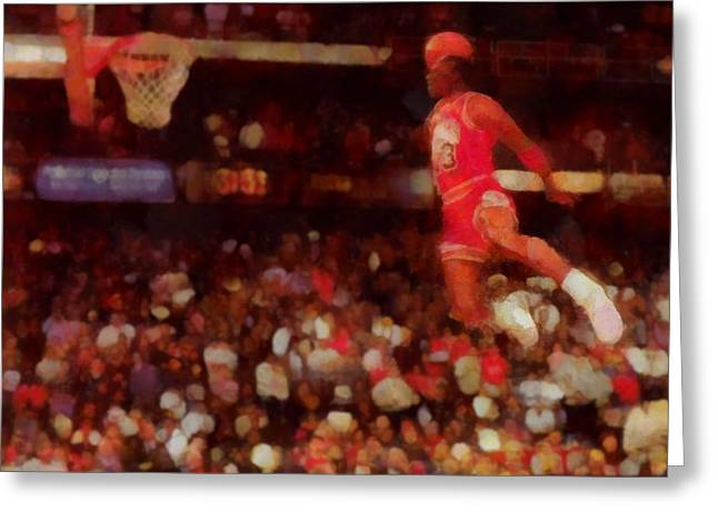 Chicago Bulls Mixed Media Greeting Cards - Air Jordan Greeting Card by Dan Sproul