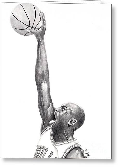 Chicago Bulls Drawings Greeting Cards - Air Jordan Greeting Card by Devin Millington