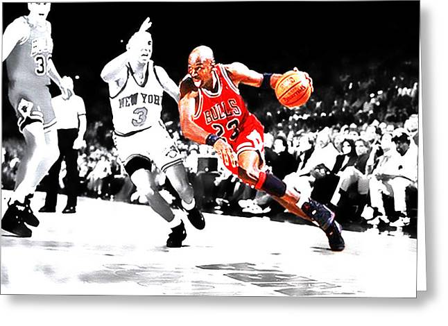Ewing Digital Greeting Cards - Air Jordan Drive on Starks Greeting Card by Brian Reaves