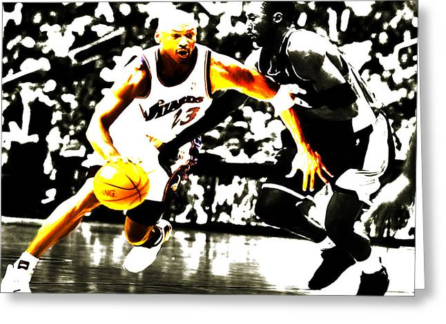 Nba Champs Greeting Cards - Air Jordan Drive on Kobe II Greeting Card by Brian Reaves
