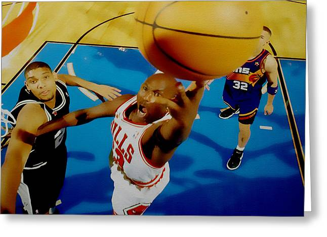Michael Jordan Greeting Cards - Air Jordan Easy Two Greeting Card by Brian Reaves