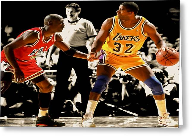 Recently Sold -  - Kobe Greeting Cards - Air Jordan on Magic Greeting Card by Brian Reaves