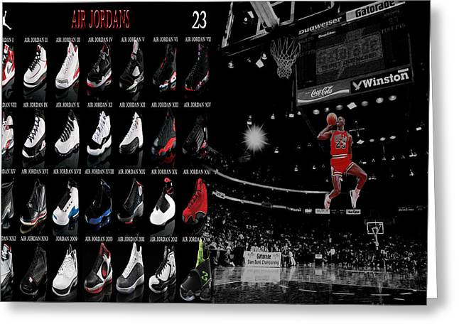 Recently Sold -  - Dunk Greeting Cards - Air Jordan History of Flight Greeting Card by Brian Reaves
