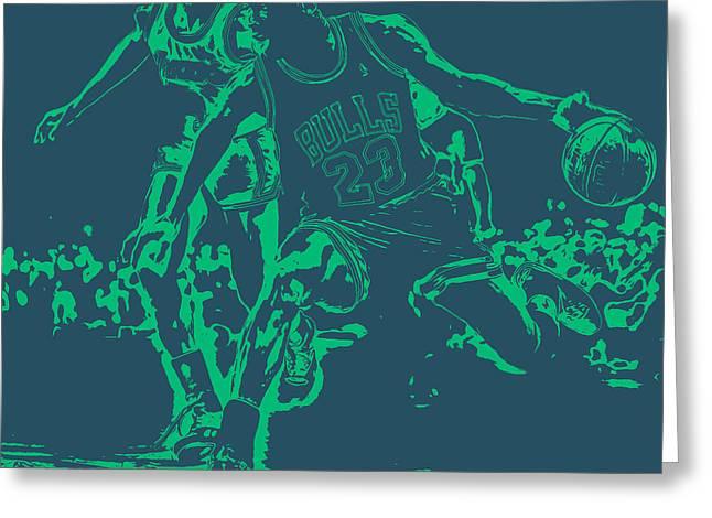Michael Jordan Greeting Cards - Air Jordan Hitting the Brakes Greeting Card by Brian Reaves