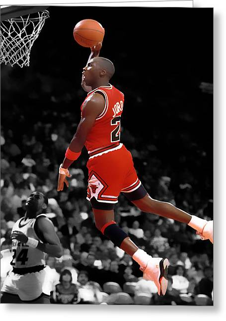 Michael Jordan Greeting Cards - Air Jordan I Believe I Can Fly Greeting Card by Brian Reaves