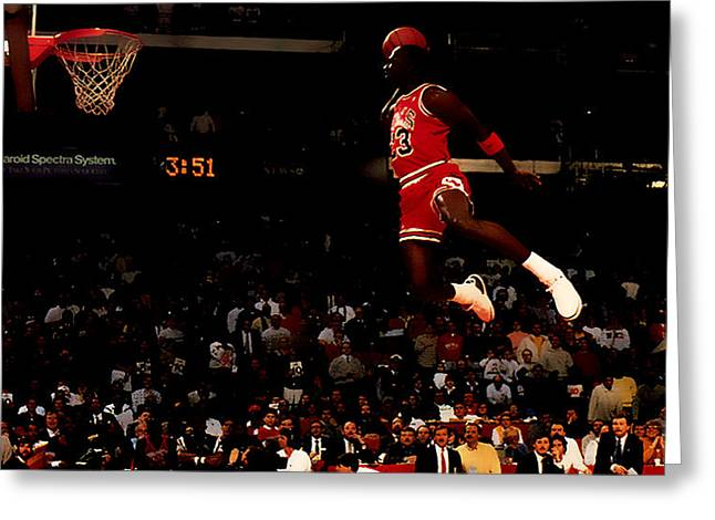 Patrick Ewing Greeting Cards - Air Jordan in Flight Greeting Card by Brian Reaves