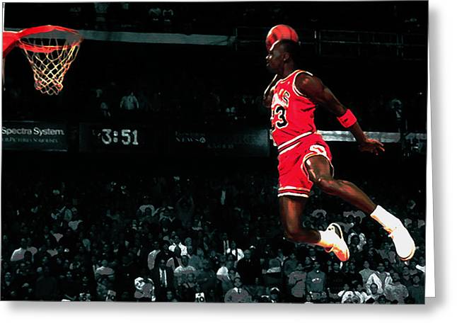Patrick Ewing Greeting Cards - Air Jordan in Flight IV Greeting Card by Brian Reaves
