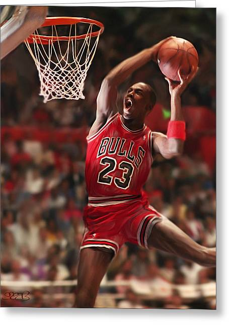Pippen Mixed Media Greeting Cards - Air Jordan Greeting Card by Mark Spears