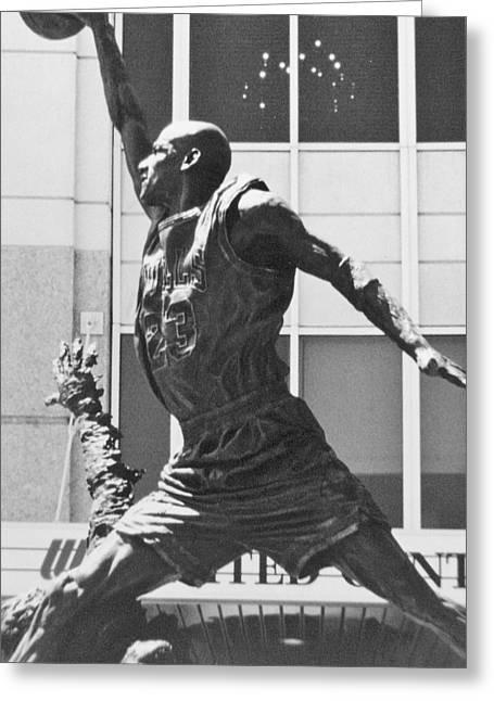 Michael Jordan Photographs Greeting Cards - Air Jordan Greeting Card by Mary Baka