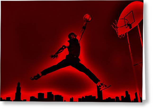 Michael Jordan Greeting Cards - Air Jordan Old School Greeting Card by Brian Reaves