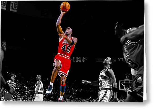 Recently Sold -  - Patrick Ewing Greeting Cards - Air Jordan Return from Retirement Greeting Card by Brian Reaves