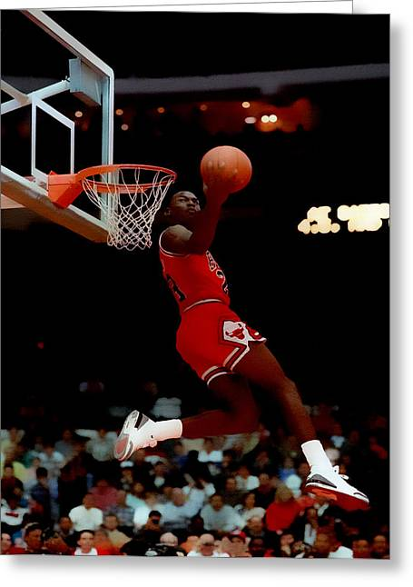 Patrick Ewing Greeting Cards - Air Jordan Reverse Slam Greeting Card by Brian Reaves