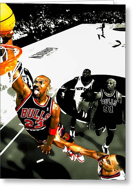 Michael Jordan Greeting Cards - Air Jordan Rises Greeting Card by Brian Reaves
