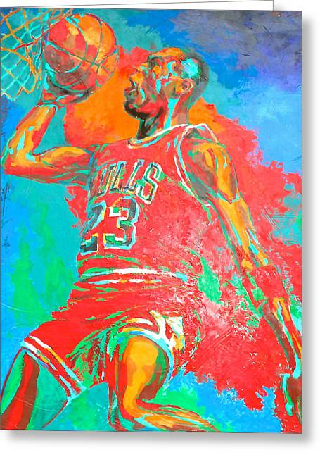 Michael Jordan Greeting Cards - Air Jordan Greeting Card by Steven Mockus