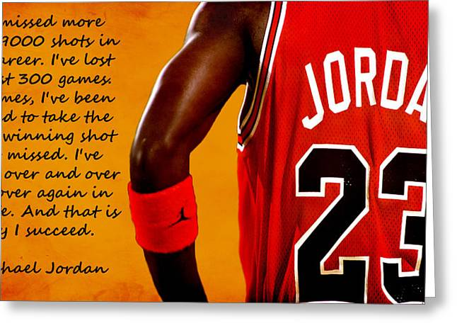 Nike Greeting Cards - Air Jordan Success Quote Greeting Card by Brian Reaves