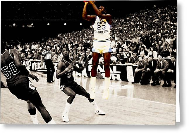 Michael Jordan Greeting Cards - Air Jordan UNC Last Shot Greeting Card by Brian Reaves