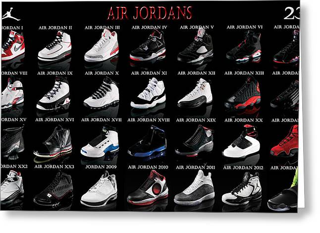 Airness Greeting Cards - Air Jordan Shoe Gallery Greeting Card by Brian Reaves